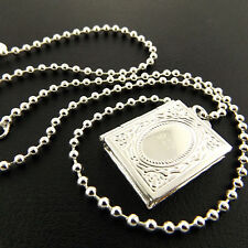 A875 GENUINE REAL 925 STERLING SILVER S/F ANTIQUE LOCKET PENDANT NECKLACE CHAIN