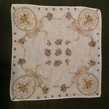VINTAGE COTTON PRINT HANKY ~ FOUR FLORAL CAMEOS TIED WITH  RIBBONS