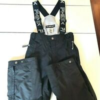 Vintage Womens Phenix Black Ski Pants Bib Sz 4 Small Suspenders Snowboard Winter