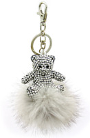 Silver Teddy Bear Key Chain Paved with Mirrored Crystals and Rabbit Puff Ball