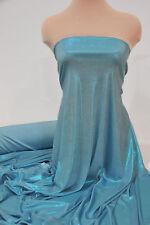 SLINKY FOIL LIQUID LAME STRETCH FABRIC TURQUOISE ELSA INSPIRED  COSTUME..