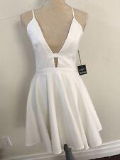 NBD x NAVEN TWINS DEEP V SKATER DRESS, Sz M,  White Low Back Dress