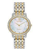CITIZEN WOMEN'S $295 ECO-DRIVE DAZZLING CRYSTALS TWO-TONE MOP WATCH  EX1484-57D