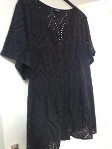 Yours Black Cut Out Peplum Top Blouse Shirt Plus Size 34/36
