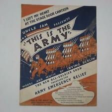 Vtg This is the Army Vintage Sheet Music 1942 WW2 Tank Flag Soldiers