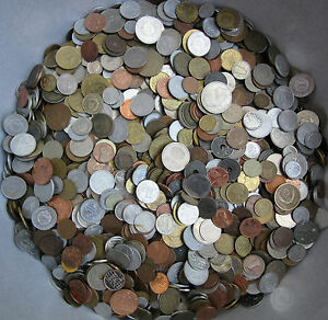 HUGE LOT OF MIXED UNSEARCHED COINS 1.0 KG (2.2 LBS) FREE SHIPPING WITH TRACKING