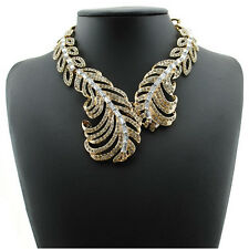 LUSH Statement Glam Gold Crystal Cuff Style Leaves Necklace By Rocks Boutique