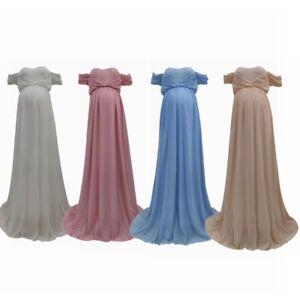 Pregnant Women Off Shoulder Maxi Dress Maternity Banquet Evening Gown Costume