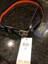 Polo Ralph Lauren 34 mm Braid Fabric Stretch Belt Orange  Navy  38