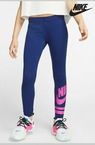 Nike Girls Blue Leggings Pink Logo Size XL 13-15 Years