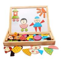 Wooden Magnetic Jigsaw Puzzles Games Toddler Toys Double Sided Drawing Easel