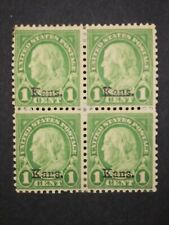 RIV: US MH 658 Block of Four STAIN 1 cent Kansas Overprint 1929 mint Franklin 2O