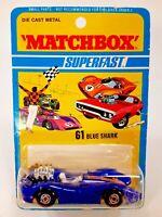 "Vintage 1971 Matchbox Superfast #61 Blue Shark ""86"" Brand New Factory Sealed"