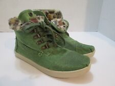 TOMS Womens 6 Green Cotton Faux Fur Lined Laced Ankle Boots Booties