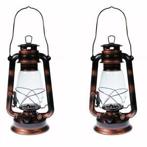 2 - Hurricane Kerosene Oil Lantern Emergency Hanging Light Lamp Brass 12 Inches
