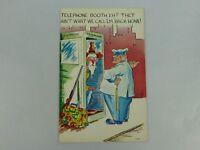 "Vintage Postcard Plastichrome ""Telephone Booth"" Hobo Carpetbagger Police Officer"