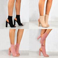 Women's Ladies Block Pumps Peep Toe Side Zip Ankle Boots High Heels Bride Shoes