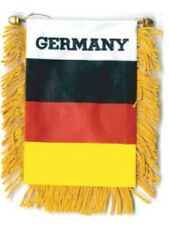 """Germany Mini Banner Flag 4 x 6"""" with Brass Staff & Suction Cup - New"""