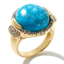 Heritage Gems Imperial Turquoise and White Zircon Vermeil Ring Size 8
