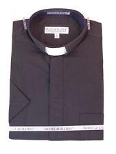 Men's Clergy Tab Collar Short Sleeve Black Dress Shirt Pastor Preacher Minister