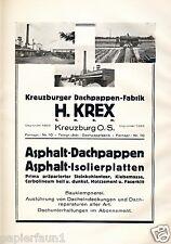 Dachpappe Krex Kreuzburg Kluczbork Reklame 1925 Oberschlesien Polen Fabrik ad