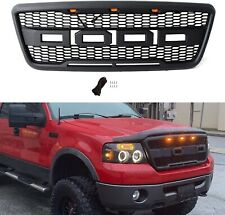 Fits 2004-2008 Ford F150 Raptor Style Matte Black Front Hood Grille W/ LED Grill