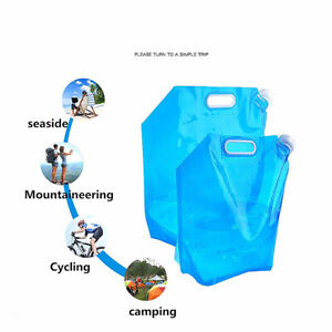 5L/10L Camping Foldable Water Storage Bottle Collapsible Bag Container Carrier
