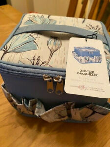 Zip-top Organizer by Everything Mary blue/floral NEW