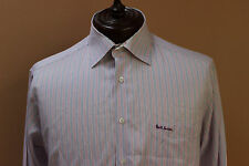 Paul Smith Button Front Shirt Red White Blue Stripe French Cuff sz 17 XL as is