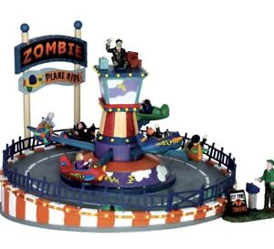 Lemax Spooky Town 'Zombie Plane Ride' Halloween Carnival Animated Sounds NIB!!