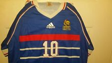 Large Adidas 1998 World Cup Final France blue home jersey #10 Zinedine Zidane