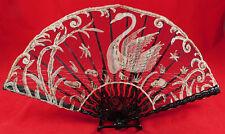 Antique Victorian Brussels Point de Gaze Needlepoint Lace Swan Dragonfly Fan Vtg