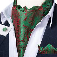 Mens Green Red Paisley Silk Ascot Cravat Tie Pocket Square Hanky Cufflinks Set