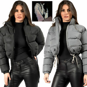 Womens Reflective Hi Visibility Thick Puffer Padded Quilted Cropped Jacket Coat