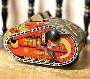 Rare Original 1940s MARX TIN LITHO WIND UP #3 Tank Toy With Guns - WORKS!!