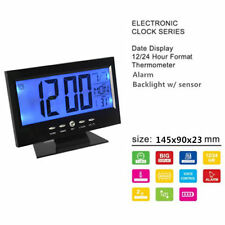 Brand New Display Table Alarm Clock With Vibration Sensor+Thermometer--black