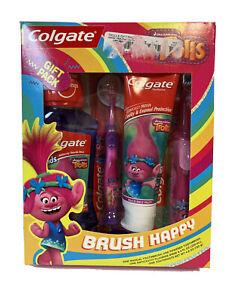 Colgate Kids Trolls powered Toothbrush Gift Set 4 pieces