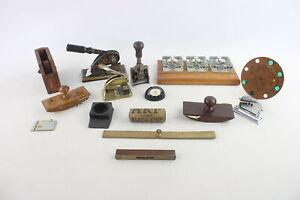 15 x Antique / Vintage Desk Accessories Inc Inkwells, Desk Tidy, Brass Etc