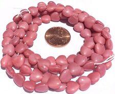 Fine Trade Opaque Rose Pink heart shape Czech Bohemian Glass beads