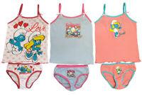 Die Schlümpfe Unterwäsche-Set 6tlg. für Mädchen Hemd Slip 100% Baumwolle NEUWARE
