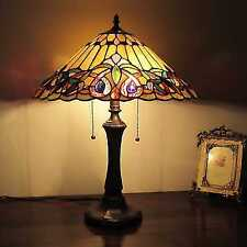 Tiffany Style Victorian 2 Light Table Lamp Vintage Stained Glass Antique Resin