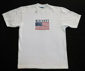 Vintage OLD NAVY 1998 American USA Flag 1990s NWT Unworn White T Shirt Mens M