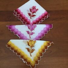"Unused Lot 3 Vtg Rose hankie handkerchief mulberry pink yellow 12""sq"
