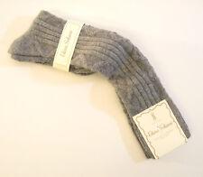 Elena Solano Italy Ladies Knee Socks Angora Blend Diamond Rib Grey - NEW