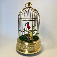 VINTAGE SINGING BIRD CAGE AUTOMATON MUSIC BOX WITH 2BIRDS BEAUTIFUL AND WORKING