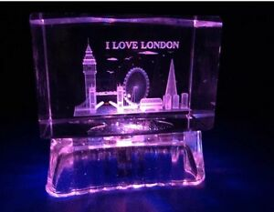 London Skyline Crystal with Lights Table Display Showpiece Souvenir Gift in Box