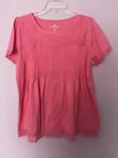 New Woman Within Pink Cotton Knit Top w/ Pintucks & Lace Trim Medium 14/16