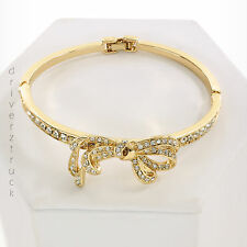 NAPIER New in Gift Box! GOLD BOW BRACELET Faux CLEAR CRYSTALS Box Clasp BANGLE