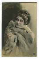 c 1910 Glamour Glamor ERMINE FUR BEAUTY photo postcard