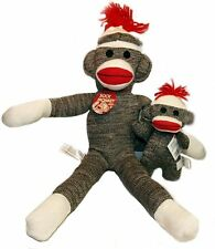 "Schylling 20"" Red Heel Sock Monkey Plush Doll and Baby Brown SET!"